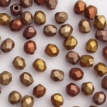 3mm Fire Polished, Matt Metallic Gold Iris - 50